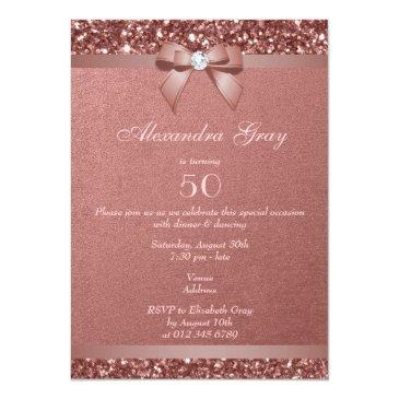 Small Any Age Birthday Rose Gold Glitter Diamond Bow Invitations Back View