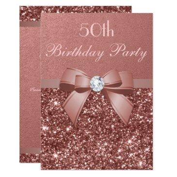 any age birthday rose gold glitter diamond bow invitations