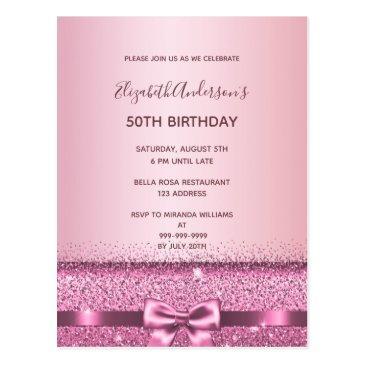 any age birthday rose gold glitter glam invitation postinvitations