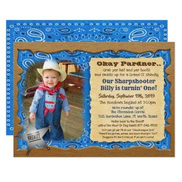 any age - cowboy birthday photo invitation