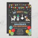any age - dog puppy birthday chalk invitation