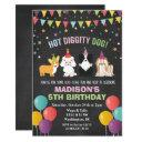 any age - dog puppy birthday chalk invitation