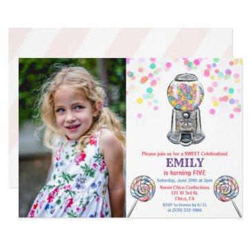 any age - gumball candy sweet birthday invitation