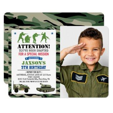 any age - military birthday photo invitation
