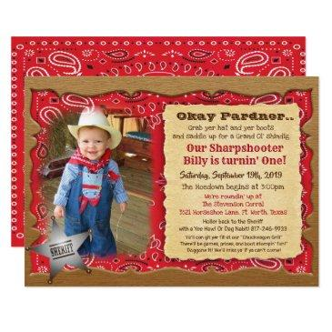 any age - photo cowboy birthday invitation
