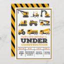 any age - under construction birthday invitation