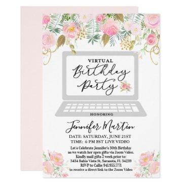 any age - virtual birthday party floral invitation