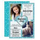 aqua blue quinceañera invitation 15 cumpleaños
