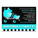 aqua blue roller skate birthday party invitation