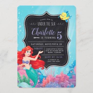 ariel | the little mermaid | chalkboard birthday invitation