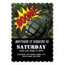 army camouflage comic grenade kids birthday invitations