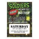 army camouflage comic pop art kids birthday invitations
