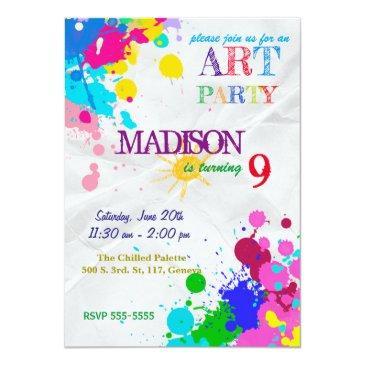 art / painting party birthday invitations