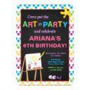 art party birthday invitation, girl painting party invitation