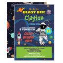 astronaut birthday party galaxy kid invitation