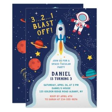 astronaut outer space rocket ship planet birthday invitation