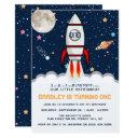 astronaut rocket outer space 1st birthday invitation