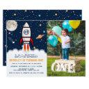 astronaut rocket outer space 1st birthday photo invitation