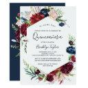 autumn garden | burgundy quinceañera invitations