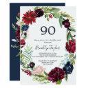 autumn garden | burgundy wreath 90th birthday invitations