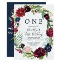 autumn garden | burgundy wreath first birthday invitation