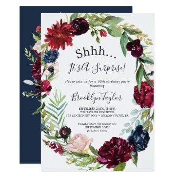 autumn garden   burgundy wreath surprise party invitation