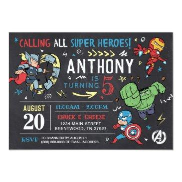 Small Avengers Chalkboard Birthday Invitation Front View