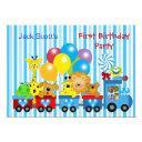 baby boy first birthday 1st train photo animals invitation