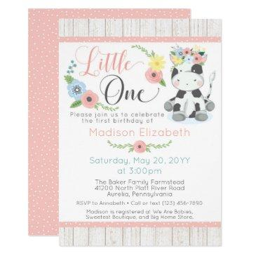 baby cow first birthday floral calf on rustic wood invitations