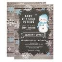 baby it's cold outside boy baby shower, snowman invitation