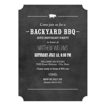 backyard bbq invitations | black chalkboard design