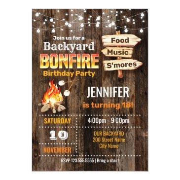 backyard bonfire birthday party invitation