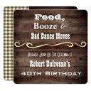 """bad dance moves"" rustic birthday invitations"