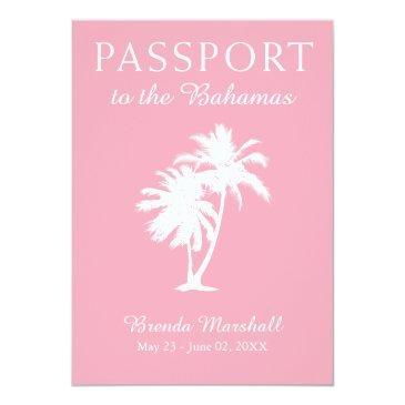 Small Bahamas 21st Birthday Pink Passport Invitation Front View
