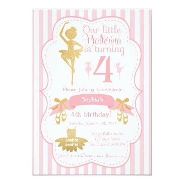 ballerina birthday invitations in pink and gold