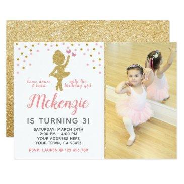 ballerina birthday invitations with photo