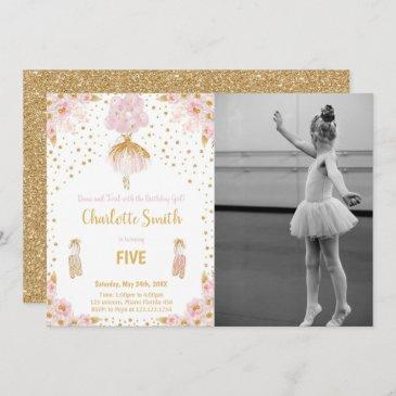 ballerina birthday invitation with photo