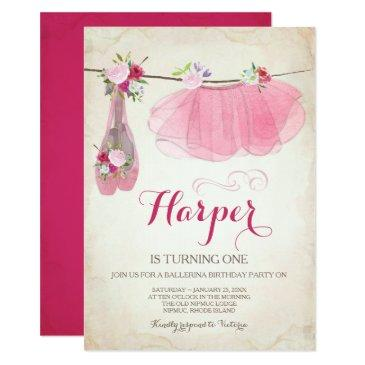 ballerina party invitations pink tutu ballet shoes