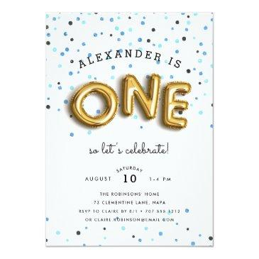 Small Balloon Type | First Birthday Party Invitation Front View
