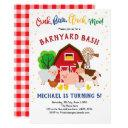 barnyard bash, farm animals, petting zoo, birthday invitation