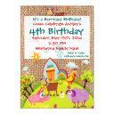 barnyard farm animals burlap birthday invitations