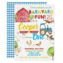barnyard fun 1st birthday party farm animals invitation