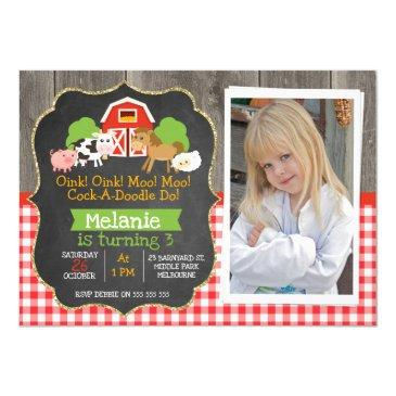 barnyard part chalkboard photo birthday invitations