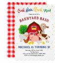barnyard, petting zoo, farm animals, birthday invitations