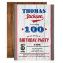 baseball 100th birthday invitation. rustic wood invitation