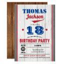baseball 18th birthday invitation. rustic wood invitation