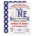 baseball, 1st birthday for twins, first birthday invitation