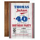 baseball 40th birthday invitation. rustic red blue invitation