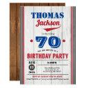 baseball 70th birthday invitation. rustic wood invitation