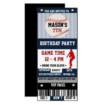 baseball birthday ticket invitations